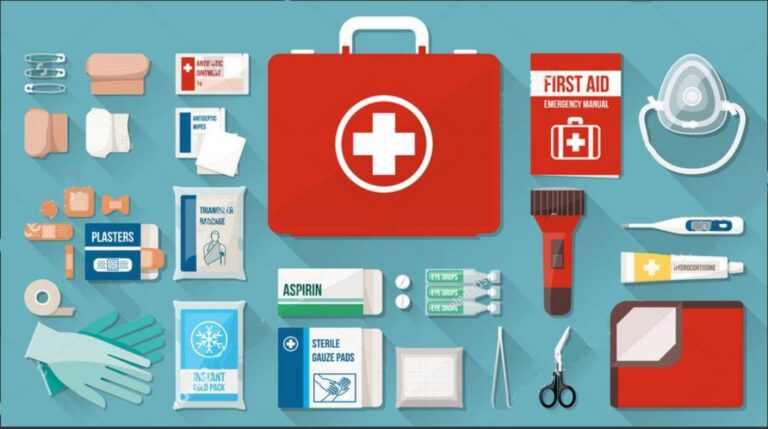 Items of first aid kit in picture