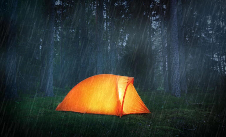 A camp in rain in jungle