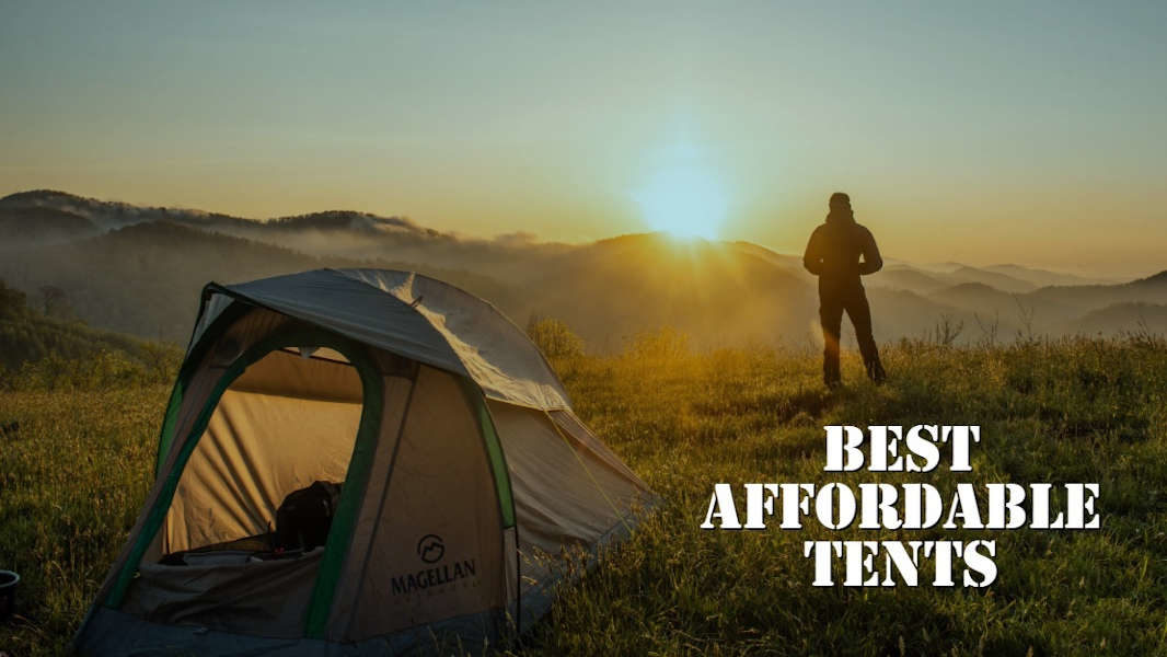 person standing beside a tent