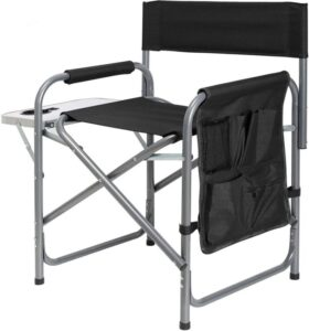 Ubon Steel Frame Portable Folding Camping Chair with Side Table