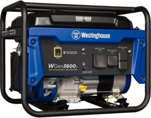 Westinghouse Outdoor Power Equipment WGen3600v Portable Generator 3600 Rated and 4650 Peak Watts